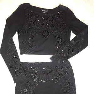 bebe black 2-piece embellished set